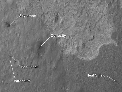 Die 4 Hauptteile der Marsmission wurden 24 Std nach der Landung von NASA's Mars Reconnaissance Orbiter (MRO)auf der Marsoberfläche lokalisiert. Der Rover ist ca. 1,5 km vom Hitzeschild entfernt.