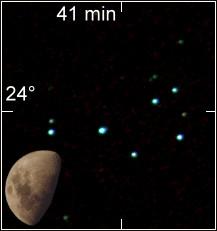 Plejaden mit dem Mond zum Größenvergleich. (Wikipedia, Anton (rp))