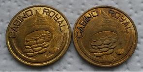 "goldfarbene (eher: messingfarbene) Gewinnmünzen ""Casino Royal"" vom Phantasialand Brühl (beidseitig gl. Prägung)"