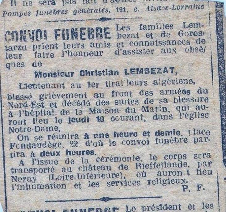 Avis des obsèques de Christian Lembezat à Bordeaux