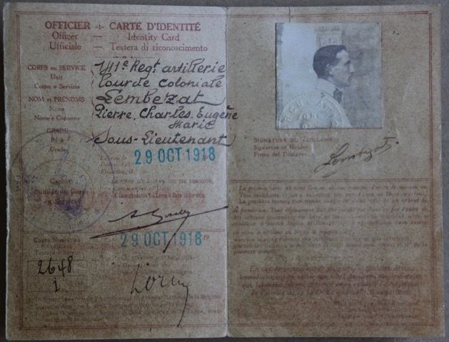 Carte d'identité militaire de Pierre Lembezat.