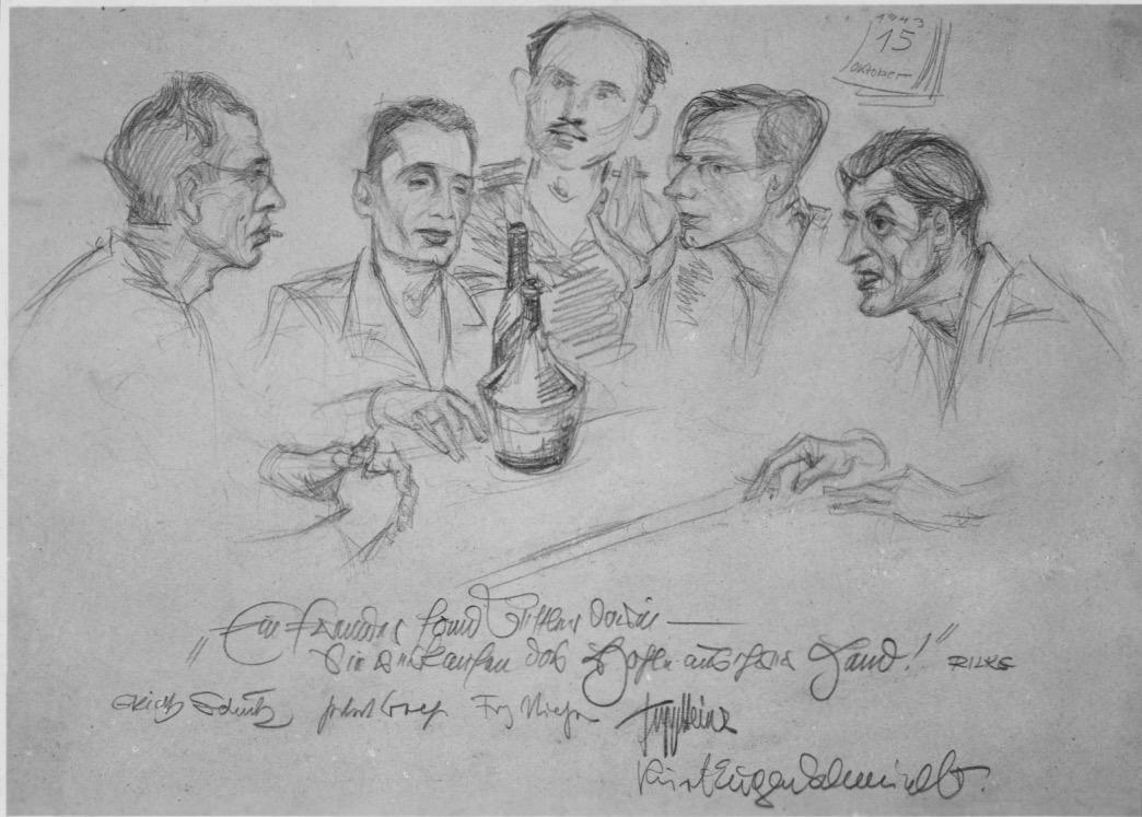Soldaten-Künstler 1943 in Smolensk: Schulz, Graf, Niessen, JH, Schmidt