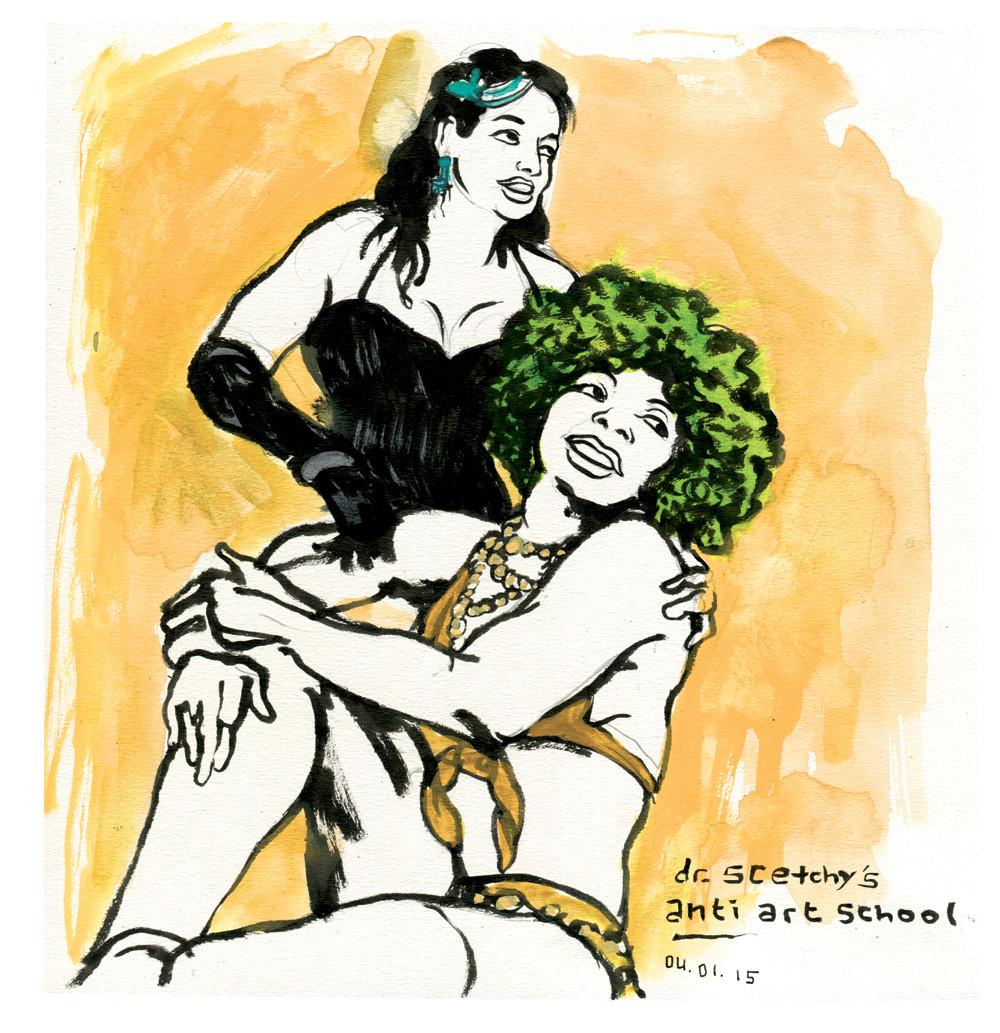 Mysti Vine und Carla Riveros bei Dr. Sketchys Anti Art School, Hamburg