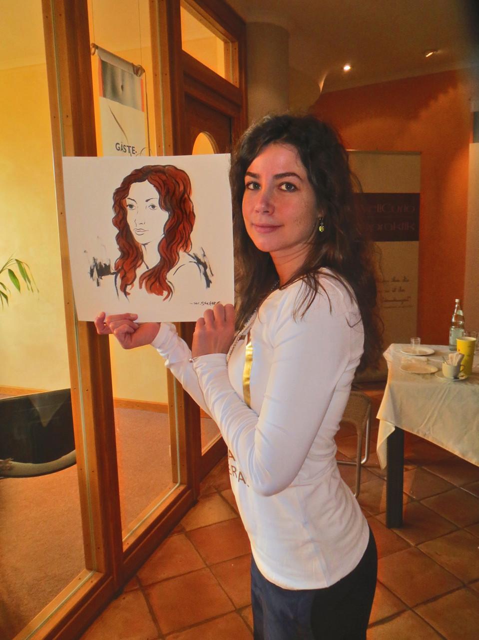 Portraitzeichnen im MeridianSpa Alstertal.