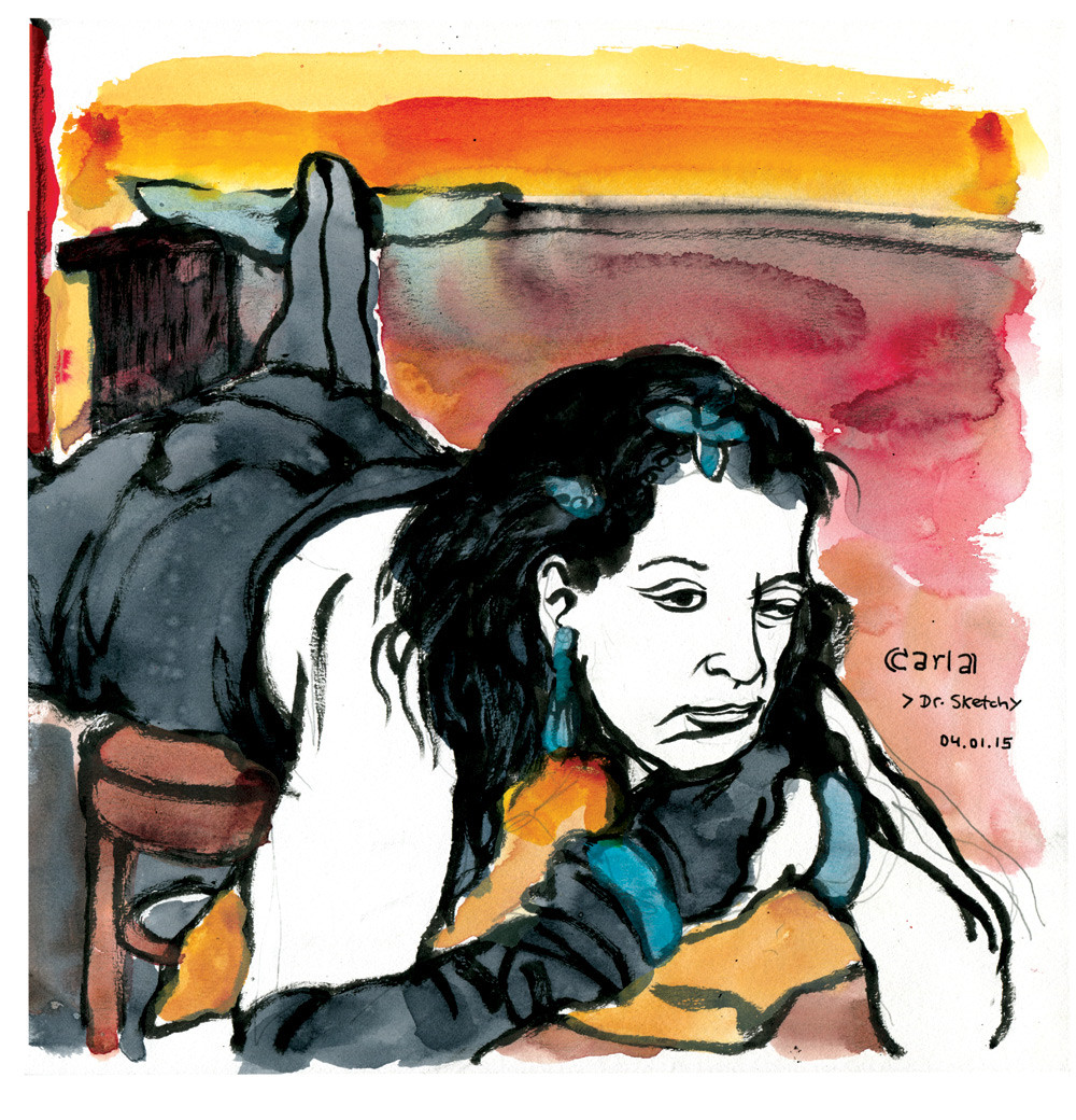 Carla Riveros bei Dr. Sketchys Anti Art School, Hamburg