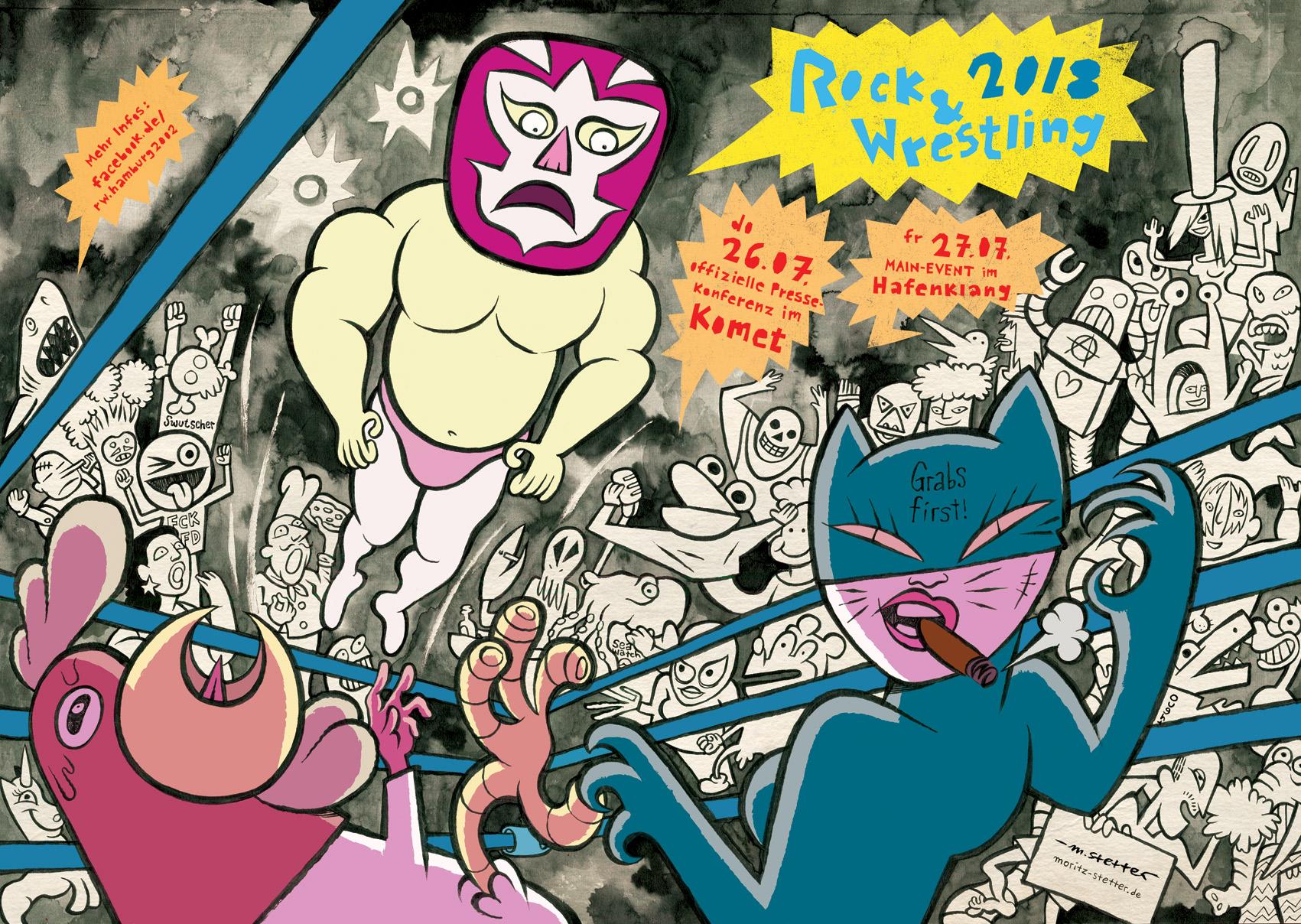 """Poster / Flyer Illustration für """"Rock & Wrestling 2018"""", im Komet und Hafenklang, Hamburg."""