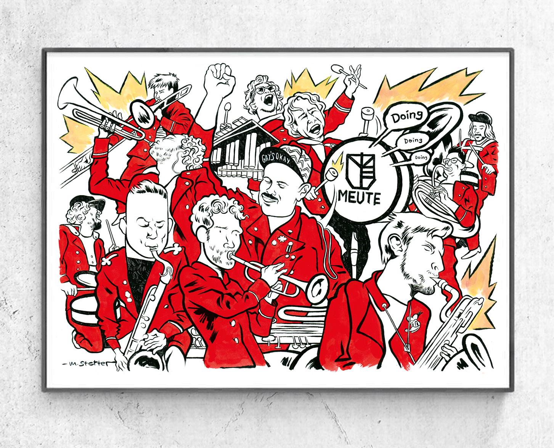 MEUTE - (DIN A2 gerahmt) Ein Weihnachtsgeschenk der Hamburger Techno Marching Band für ihren Frontmann. © 2018 Moritz Stetter