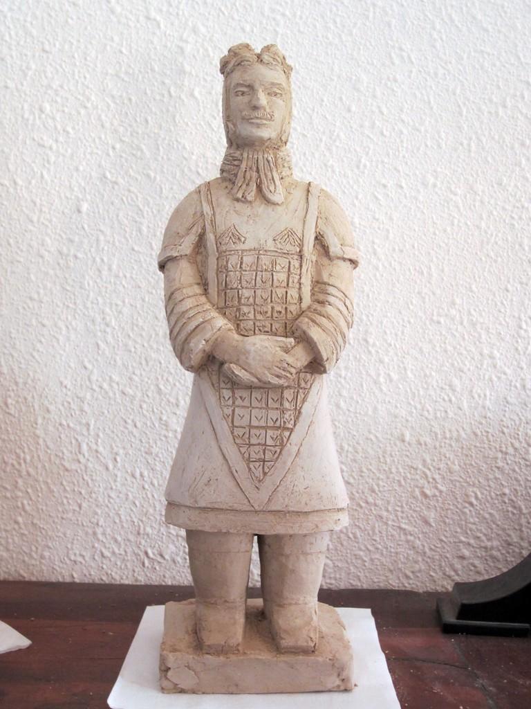 guerrier chinois sculpture argile 2014 nouveausculpteur.