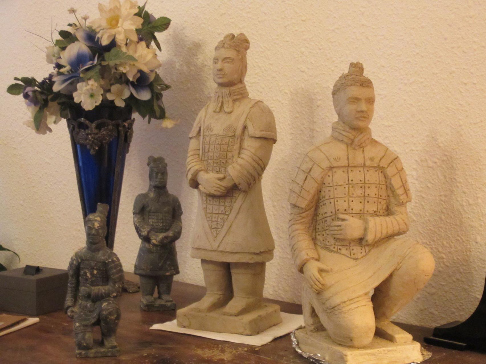 """""""guerriers chinois"""" sculptures argiles 2014."""
