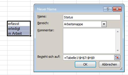 Excel: Drop-Down-Liste - Namen vergeben