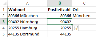 Excel 2013: Blitzvorschau - Seperation