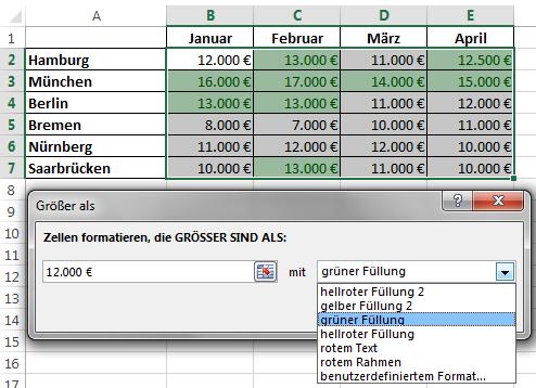 Excel 2013: Schnellanalyse - Live-Vorschau