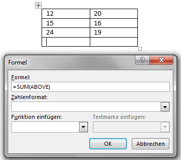 Tabellen in Word: Einfügen von Formeln
