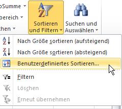 Excel: Benutzerdefiniertes Sortieren