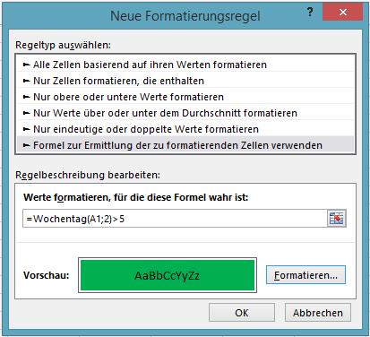 Excel: Bedingte Formatierung - neue Formatierungsregel