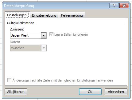 Excel: Drop-Down-Liste - Datenüberprüfung Einstellungen