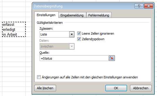 Excel: Drop-Down-Liste - Quelle