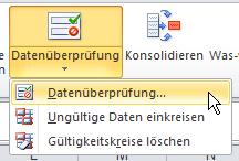 Excel: Drop-Down-Liste - Datenüberprüfung