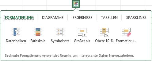 Excel 2013: Schnellanalyse