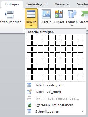 Tabellen in Word