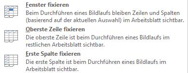 Excel 2013: Fenster fixieren
