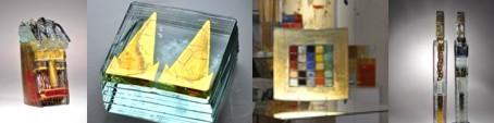 Heiner Düsterhaus in der CCAA GLASGALERIE KÖLN, Goldglas, Glaskunst