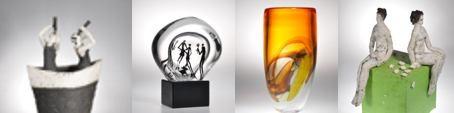 Franz Winkelkotte und Wendelin Gräbener in der CCAA GLASGALERIE KÖLN Glaskunst, Keramik