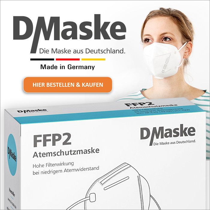 FFP2 Atemschutzmaske, Made in Germany, Anbieter: D/Maske – exbert GmbH & Co. KG