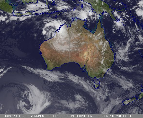 Tropical Cyclone Blake off the WA coast, 07/01/2020. Images from BoM