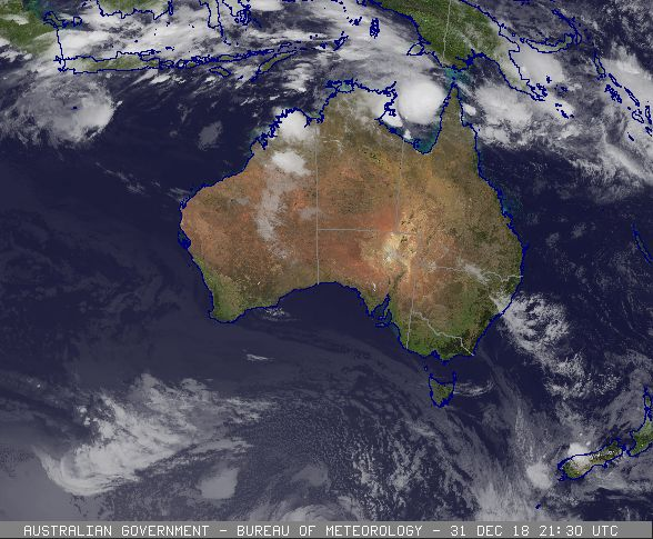 Satellite image of Tropical Cyclone Penny prior to being named (0530 AEST 01 Dec 2019). Image from www.bom.gov.au.