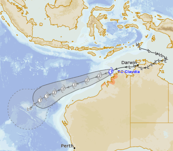 track map of TC Claudia, 12/01/2020. Image from Meteye, www.bom.gov.au.