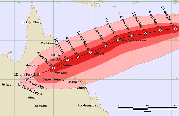 Track map of Tropical Cyclone Yasi. from: www.bom.gov.au