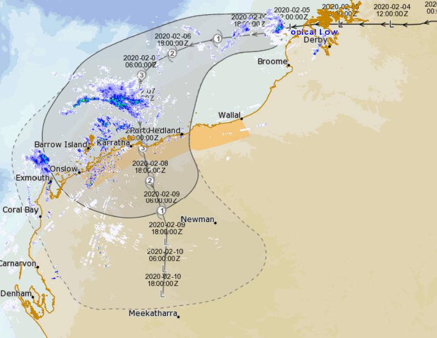 track map of TC Claudia, 12/01/2020. Image from Meteye, www.bom.gov.au.