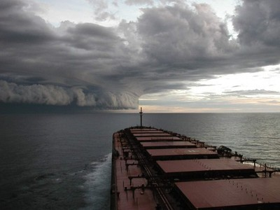 Tanker approaching Tropical Cyclone Graham off the coast of Western Australia near Port Hedland. Copyright Marine Science Australia.