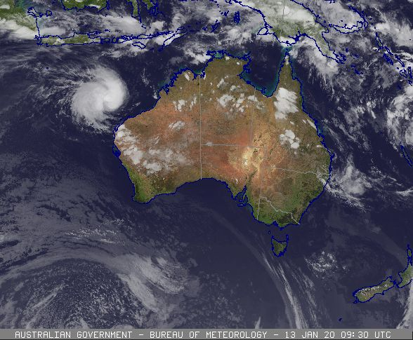 Tropical Cyclone Claudia as a category 3 Tropical Cyclone off the WA coast, 13/01/2020. Images from BoM