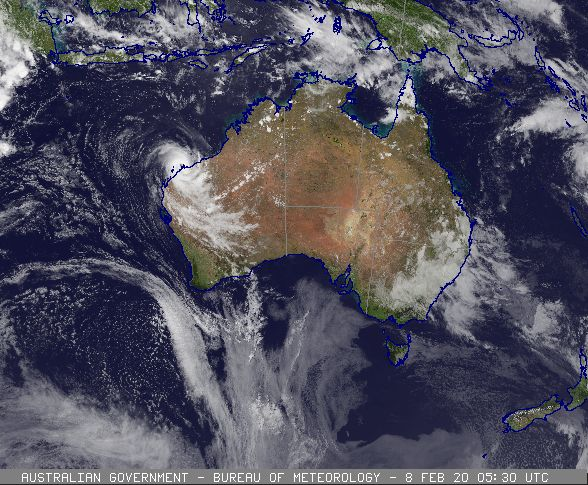 Tropical Cyclone Damien developing off the WA coast, 08/02/2020. Images from BoM