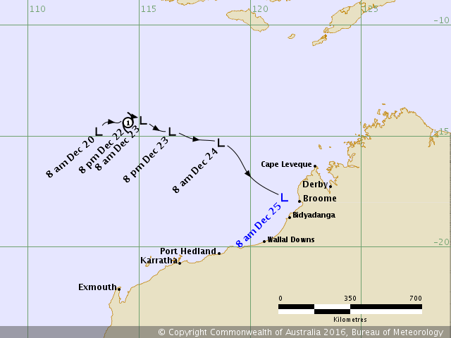 Tropical cyclone Yvette track map. from www.bom.gov.au.