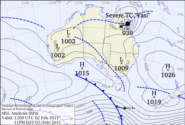 Severe Tropical Cyclon Yasi MSLP. from www.bom.gov.au
