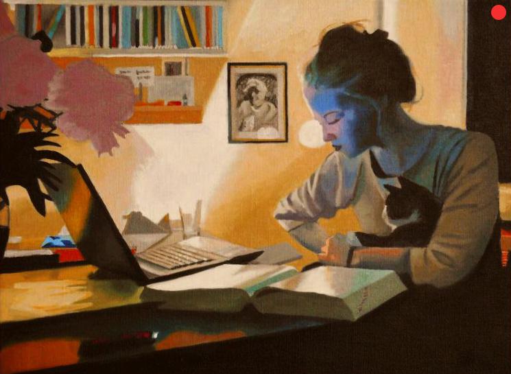 Studentin mit Katze, Oil on Canvas, 40 x 50 cm