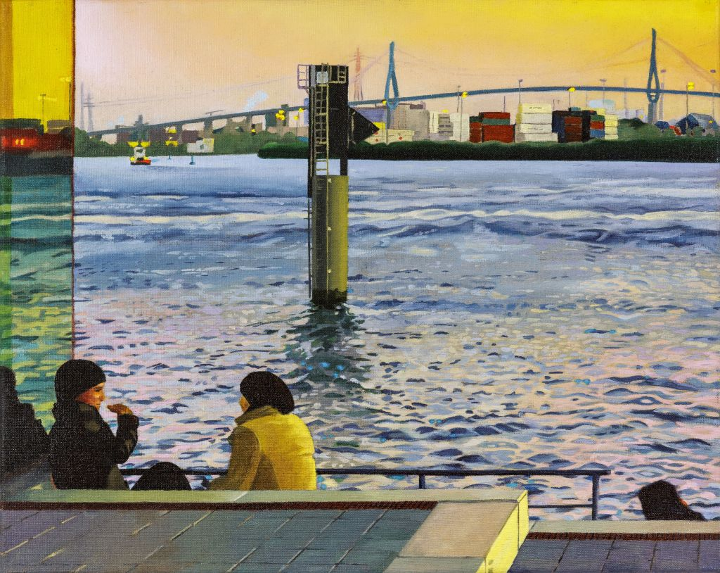 Gespräch an der Elbe, Oil on Canvas, 60 x 50 cm