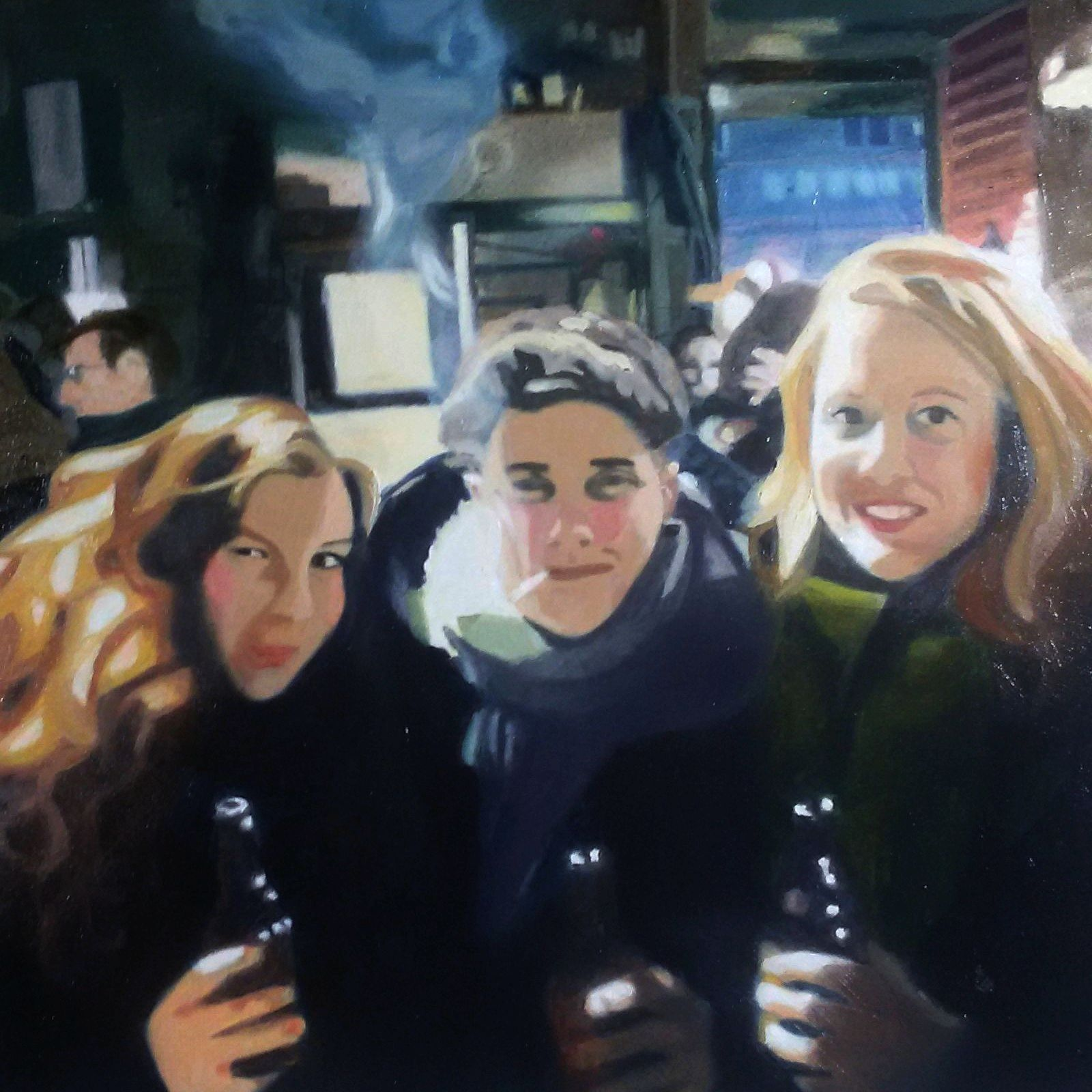 Hong Kong Bar, Oil on Cardboard, 30 x 30 cm