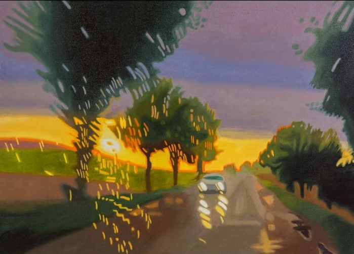 Street in Poland, Oil on Canvas, 70 x 50 cm