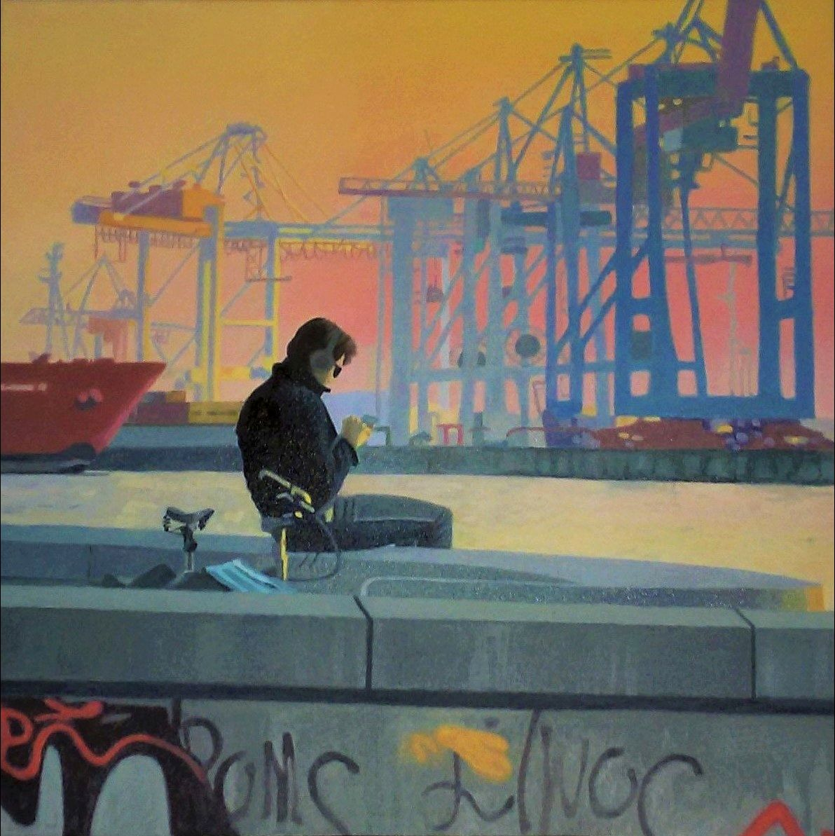 Am Hafen, Oil on Canvas, 50 cm x 50 cm