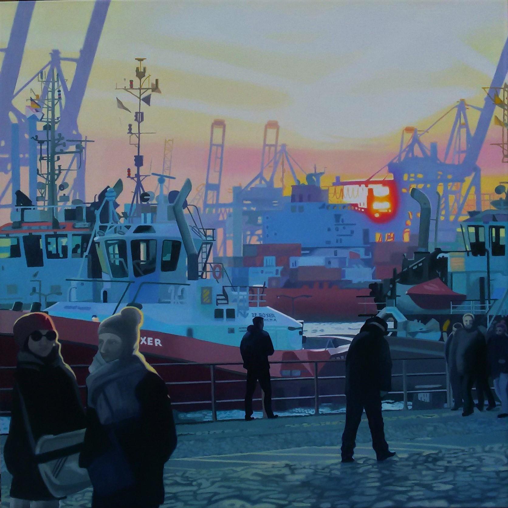Schlepper am Hafen, Oil on Canvas, 100 cm x 100 cm