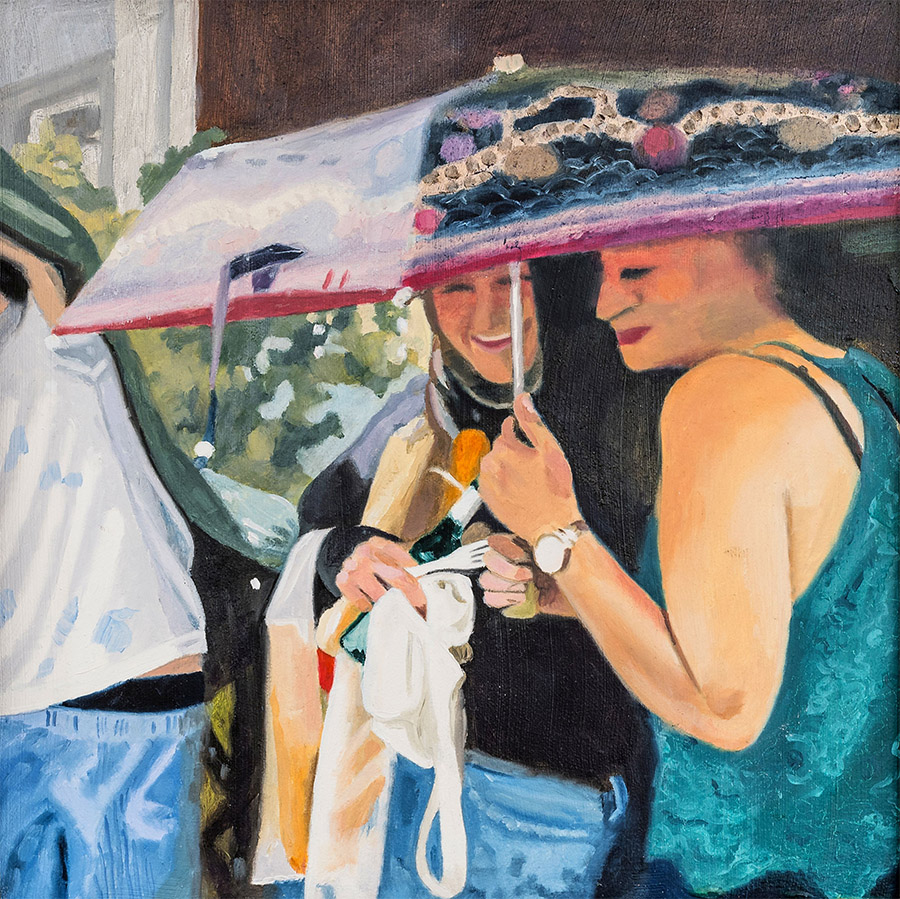 The Party Got Wet, Oil on Cardboard, 30 x 30 cm