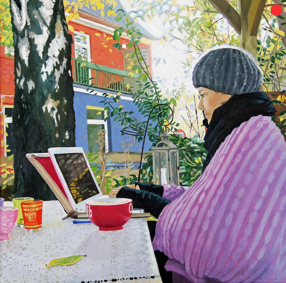 Nachbarin, Oil on Canvas, 40 x 40 cm