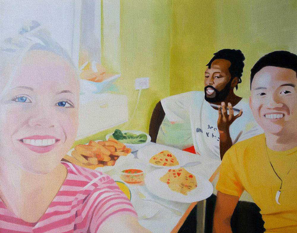 Küchen-Selfie, Oil on Canvas, 40 x 50 cm