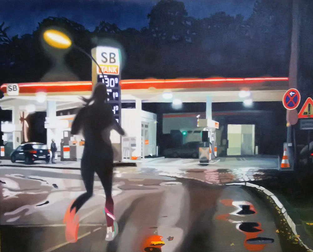 Tankstelle, Oil on Canvas, 80 x 100 cm