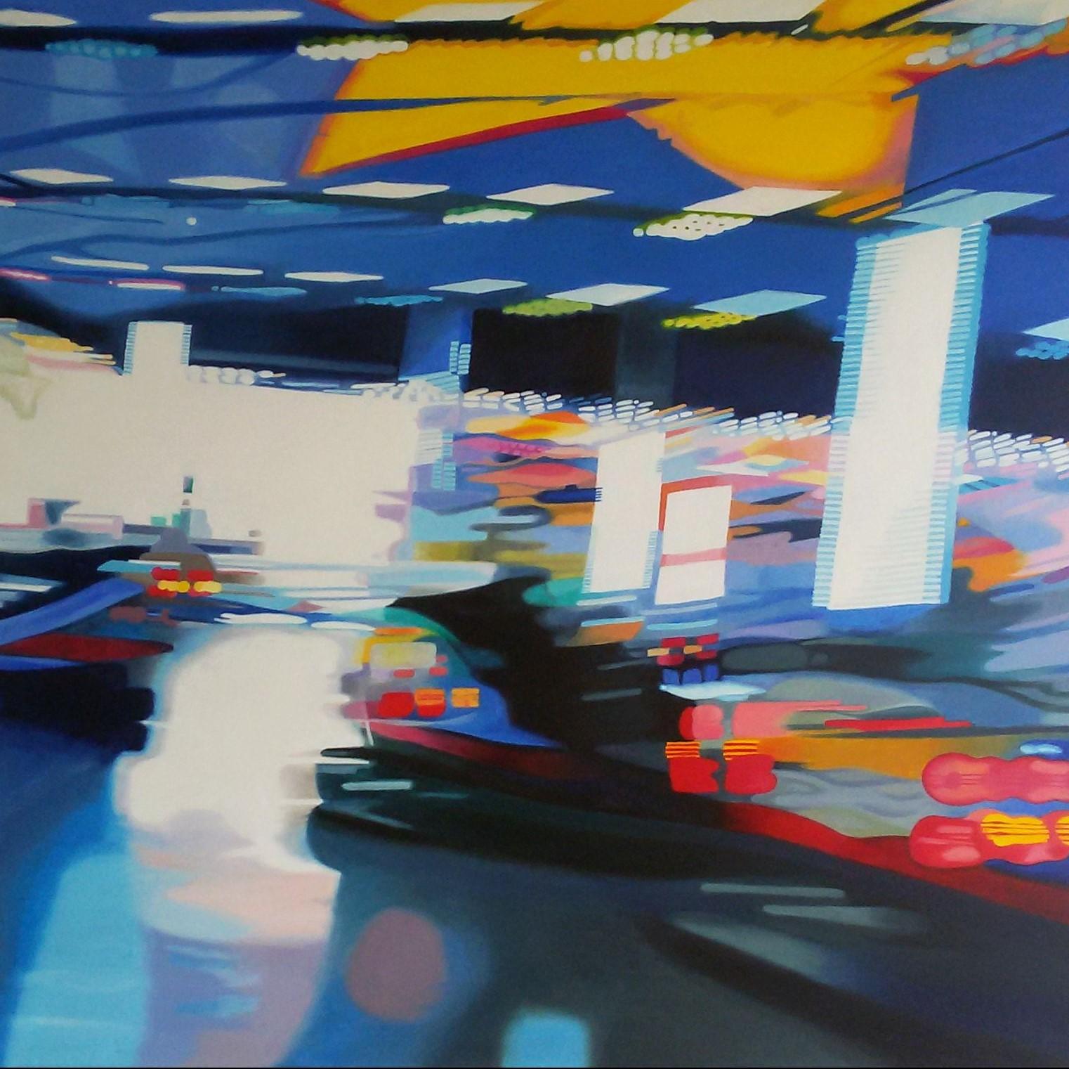 Autoscooter, Oil on Canvas, 100 cm x 100 cm