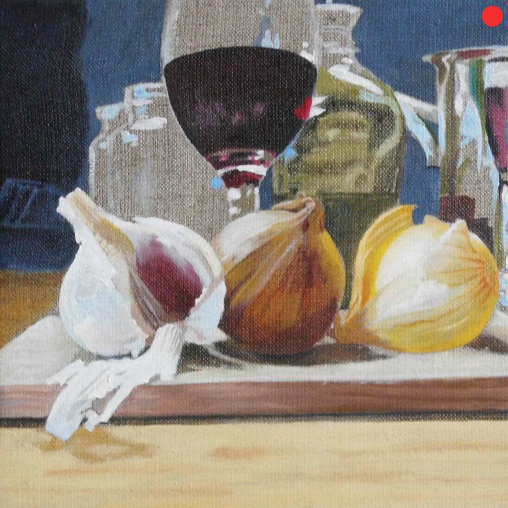 Zwiebeln und Wein, Oil on Canvas, 30 x 30 cm